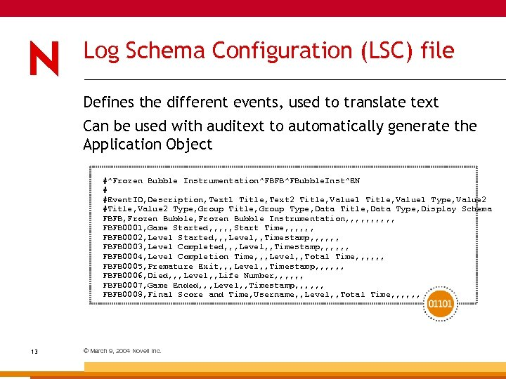 Log Schema Configuration (LSC) file Defines the different events, used to translate text Can