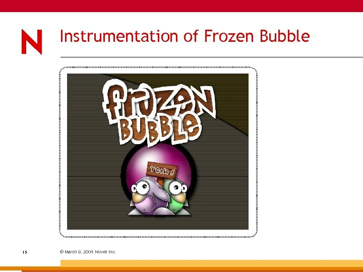 Instrumentation of Frozen Bubble 15 © March 9, 2004 Novell Inc.