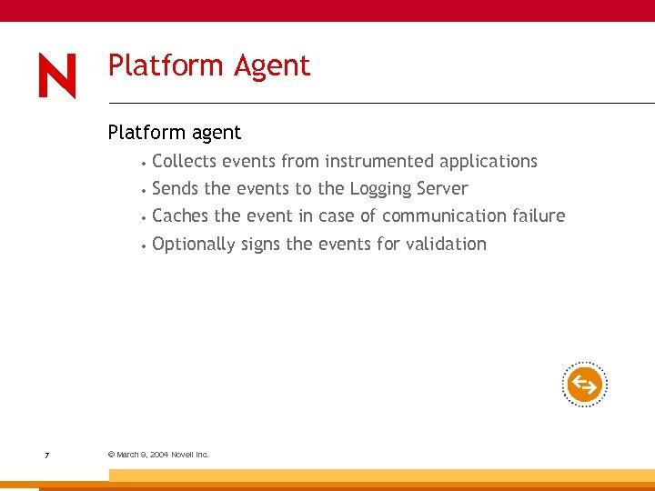 Platform Agent Platform agent • • Sends the events to the Logging Server •