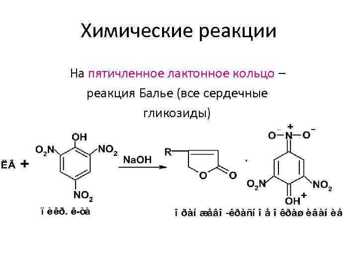 Химические реакции На пятичленное лактонное кольцо – реакция Балье (все сердечные гликозиды)