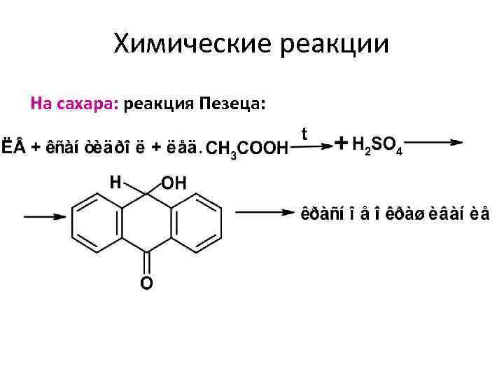 Химические реакции На сахара: реакция Пезеца: