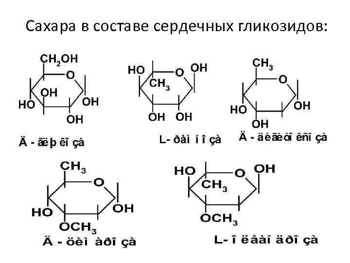 Сахара в составе сердечных гликозидов: