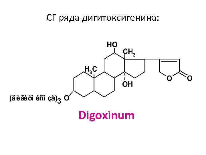 СГ ряда дигитоксигенина: Digoxinum
