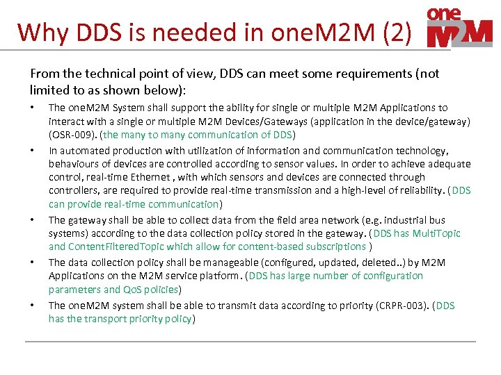 Why DDS is needed in one. M 2 M (2) From the technical point