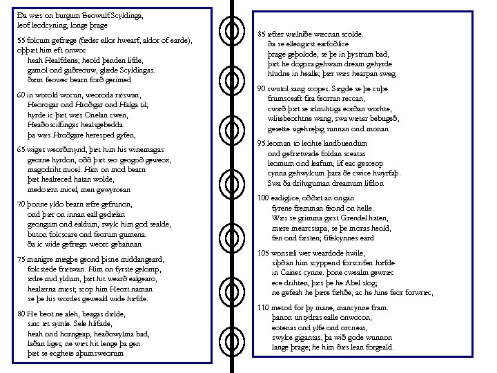 Ða wæs on burgum Beowulf Scyldinga, leof leodcyning, longe þrage 55 folcum gefræge (fæder