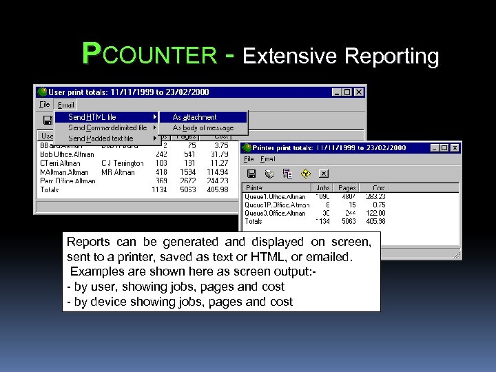 PCOUNTER - Extensive Reporting Reports can be generated and displayed on screen, sent to