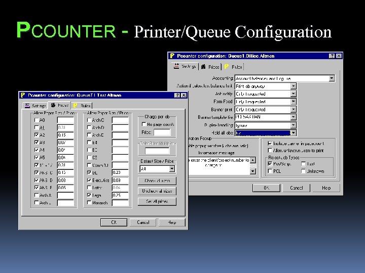 PCOUNTER - Printer/Queue Configuration