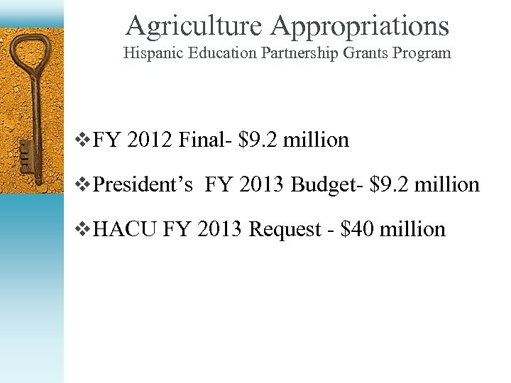 Agriculture Appropriations Hispanic Education Partnership Grants Program v FY 2012 Final- $9. 2 million