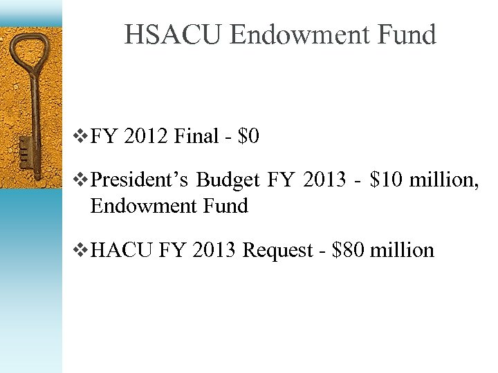 HSACU Endowment Fund v FY 2012 Final - $0 v President's Budget FY 2013