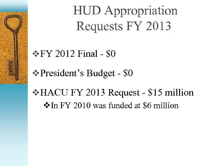 HUD Appropriation Requests FY 2013 v FY 2012 Final - $0 v President's