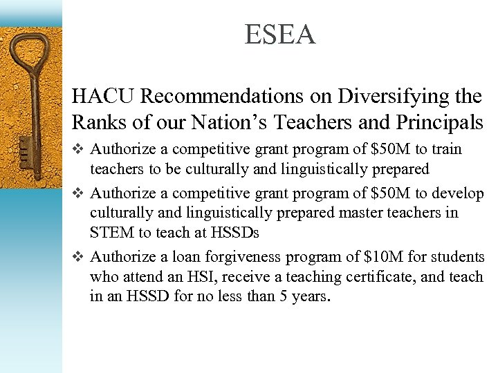 ESEA HACU Recommendations on Diversifying the Ranks of our Nation's Teachers and Principals v