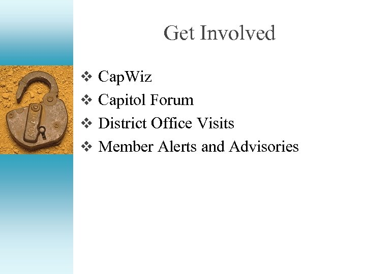 Get Involved v Cap. Wiz v Capitol Forum v District Office Visits v Member