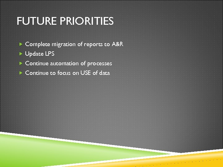 FUTURE PRIORITIES Complete migration of reports to A&R Update LPS Continue automation of processes
