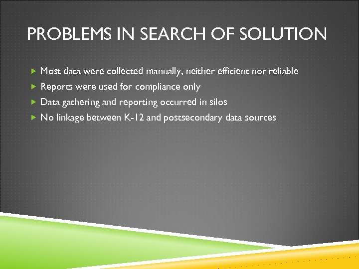 PROBLEMS IN SEARCH OF SOLUTION Most data were collected manually, neither efficient nor reliable