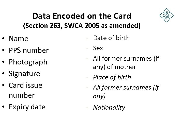 Data Encoded on the Card (Section 263, SWCA 2005 as amended) Name PPS number