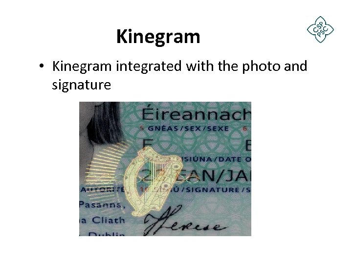 Kinegram • Kinegram integrated with the photo and signature