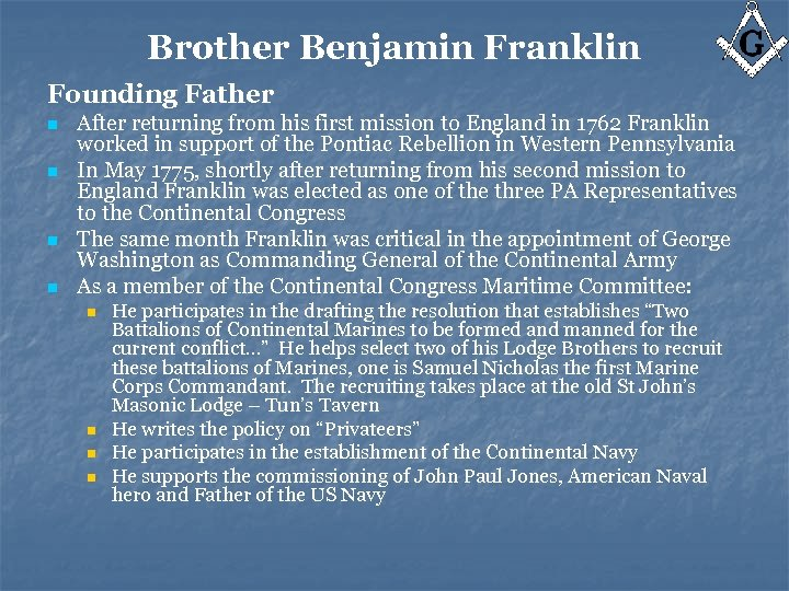 Brother Benjamin Franklin Founding Father n n After returning from his first mission to