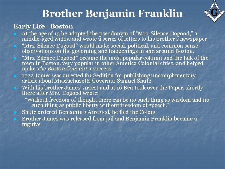 Brother Benjamin Franklin Early Life - Boston n n n At the age of