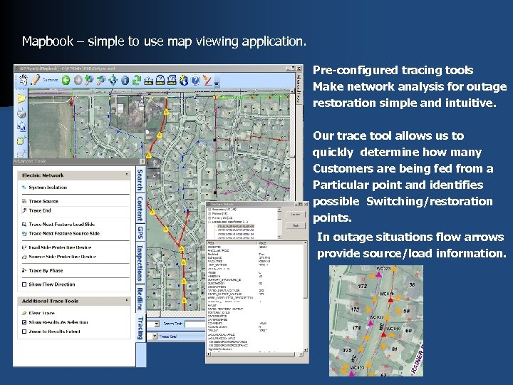 Mapbook – simple to use map viewing application. Pre-configured tracing tools Make network analysis