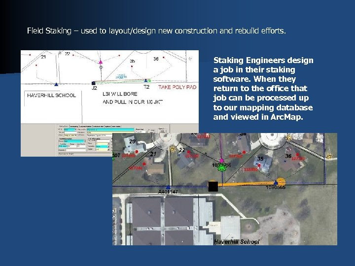 Field Staking – used to layout/design new construction and rebuild efforts. Staking Engineers design