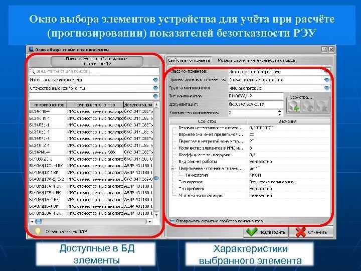 Окно выбора элементов устройства для учёта при расчёте (прогнозировании) показателей безотказности РЭУ Доступные в
