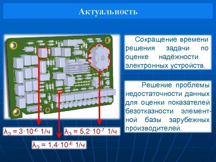 Актуальность Сокращение времени решения задачи по оценке надёжности электронных устройств. λЭ = 3· 10