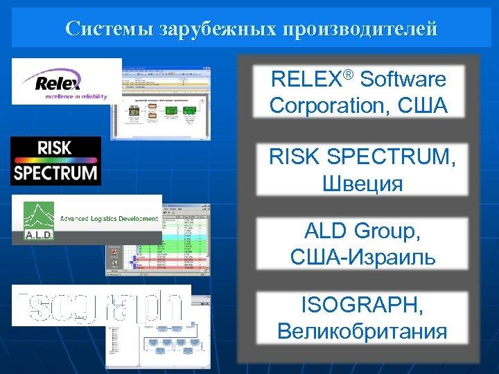 Системы зарубежных производителей RELEX® Software Corporation, США RISK SPECTRUM, Швеция ALD Group, США-Израиль ISOGRAPH,