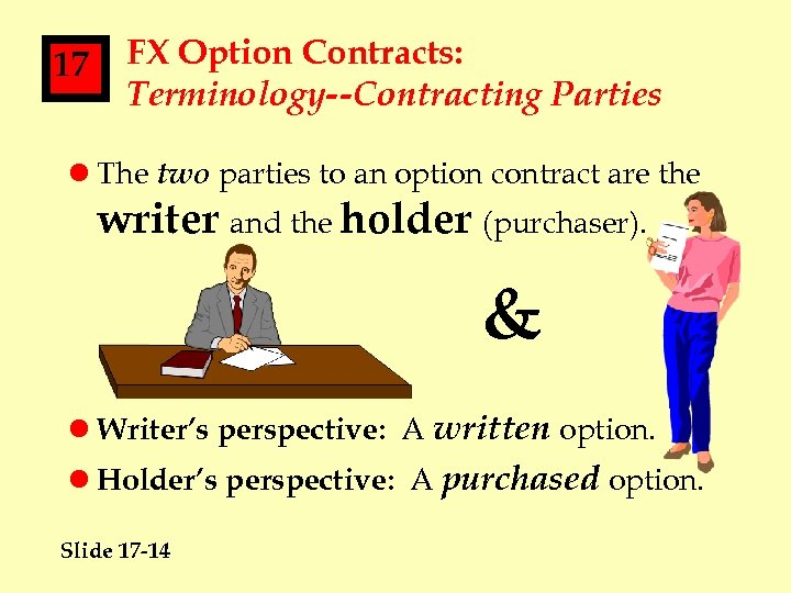 17 FX Option Contracts: Terminology--Contracting Parties l The two parties to an option contract