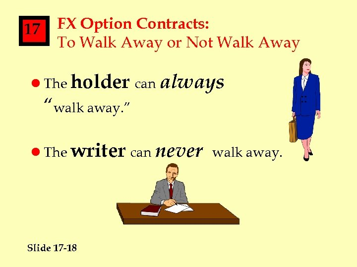 17 FX Option Contracts: To Walk Away or Not Walk Away l The holder