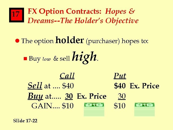 17 FX Option Contracts: Hopes & Dreams--The Holder's Objective l The option holder (purchaser)
