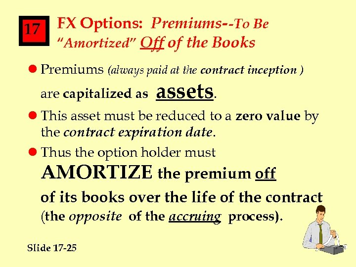 """17 FX Options: Premiums--To Be """"Amortized"""" Off of the Books l Premiums (always paid"""