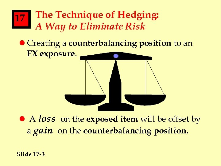 17 The Technique of Hedging: A Way to Eliminate Risk l Creating a counterbalancing