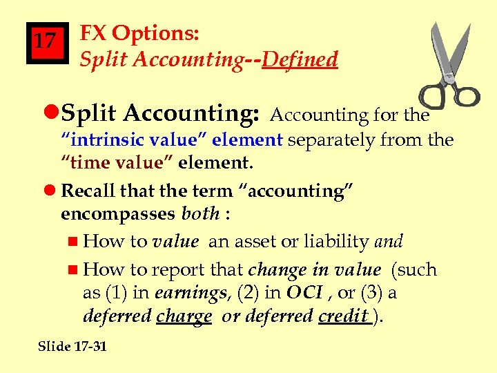 """17 FX Options: Split Accounting--Defined l. Split Accounting: Accounting for the """"intrinsic value"""" element"""