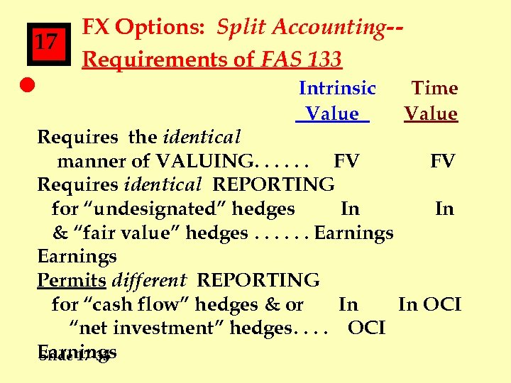 17 l FX Options: Split Accounting-Requirements of FAS 133 Intrinsic Value Time Value Requires