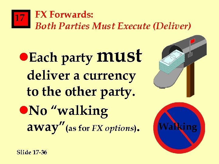 17 FX Forwards: Both Parties Must Execute (Deliver) l. Each party must deliver a