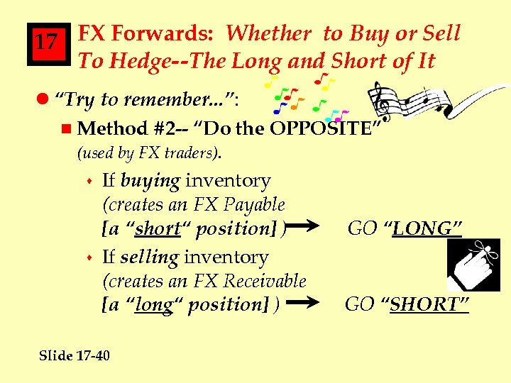 17 FX Forwards: Whether to Buy or Sell To Hedge--The Long and Short of