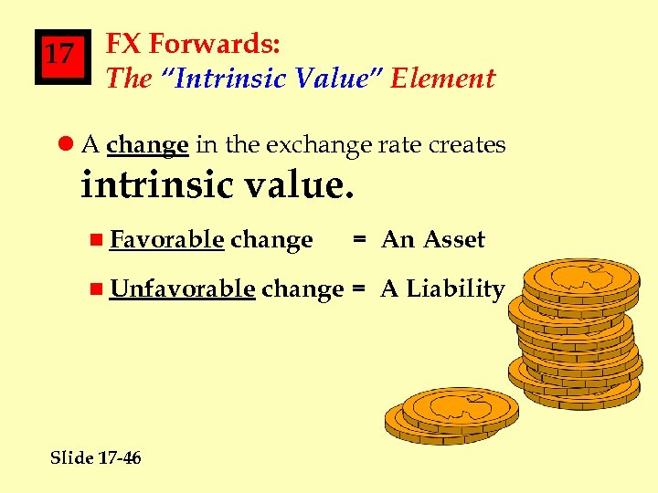 """17 FX Forwards: The """"Intrinsic Value"""" Element l A change in the exchange rate"""