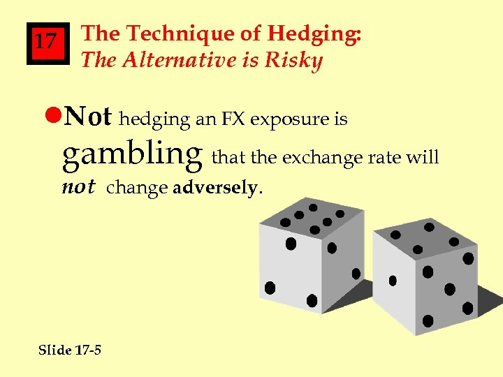 17 The Technique of Hedging: The Alternative is Risky l. Not hedging an FX