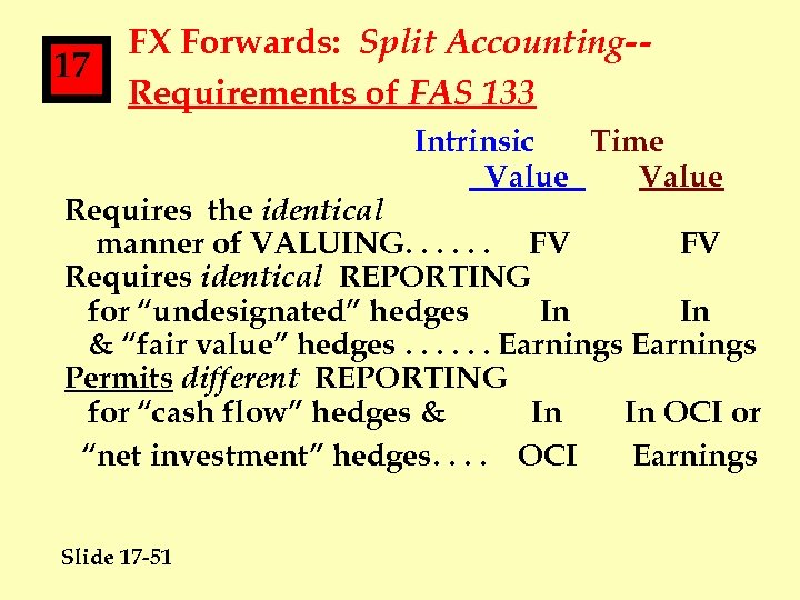 17 FX Forwards: Split Accounting-Requirements of FAS 133 Intrinsic Time Value Requires the identical