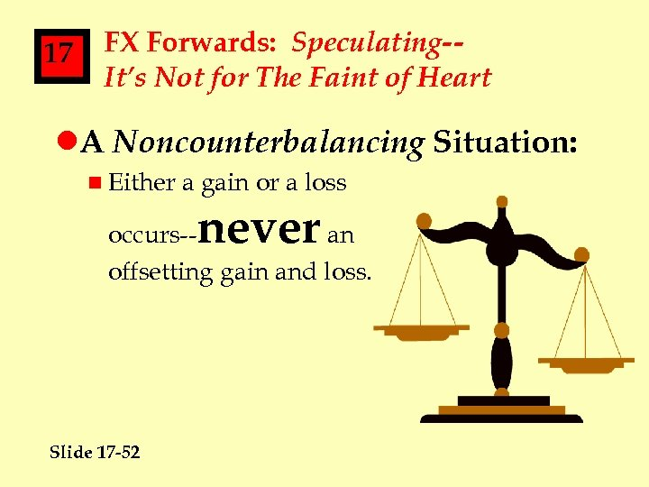 17 FX Forwards: Speculating-It's Not for The Faint of Heart l. A Noncounterbalancing Situation: