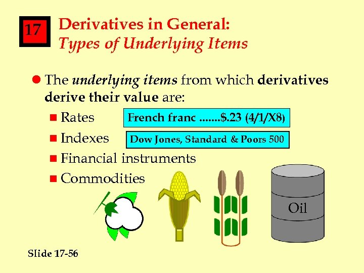 17 Derivatives in General: Types of Underlying Items l The underlying items from which
