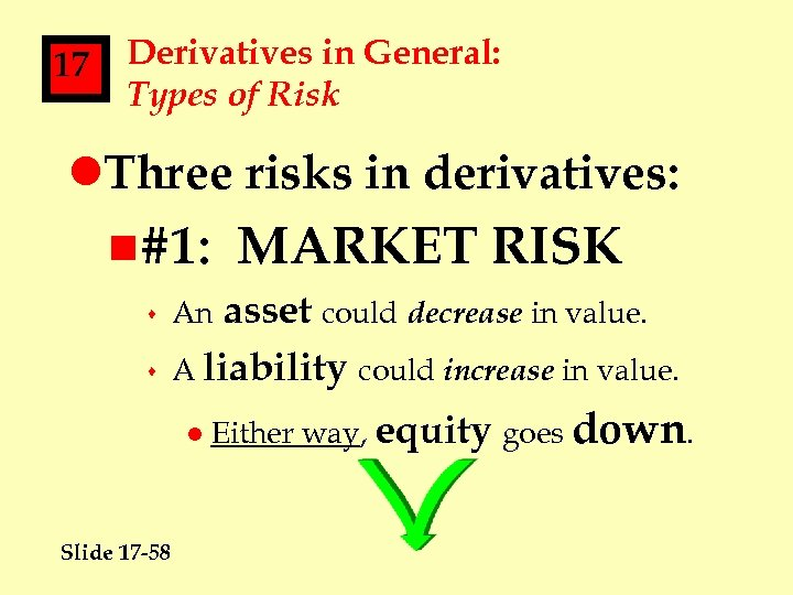 17 Derivatives in General: Types of Risk l. Three risks in derivatives: n#1: s