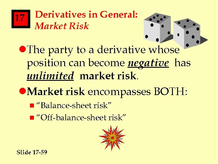 17 Derivatives in General: Market Risk l. The party to a derivative whose position