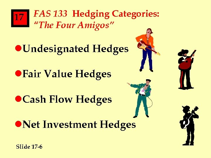 """17 FAS 133 Hedging Categories: """"The Four Amigos"""" l. Undesignated Hedges l. Fair Value"""