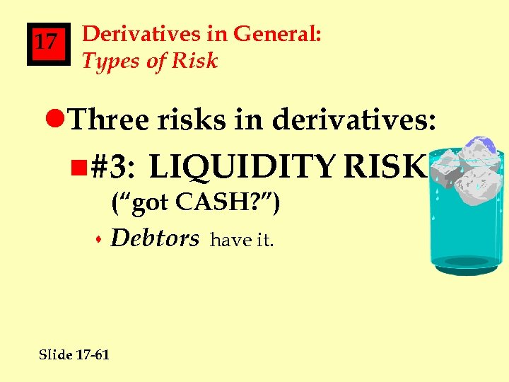 17 Derivatives in General: Types of Risk l. Three risks in derivatives: n#3: LIQUIDITY