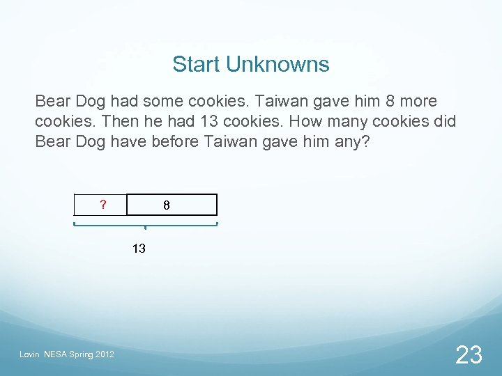 Start Unknowns Bear Dog had some cookies. Taiwan gave him 8 more cookies. Then