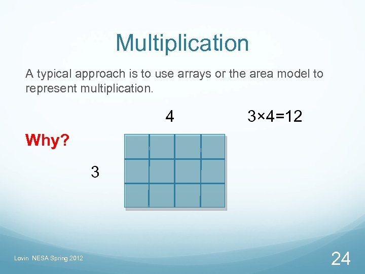 Multiplication A typical approach is to use arrays or the area model to represent