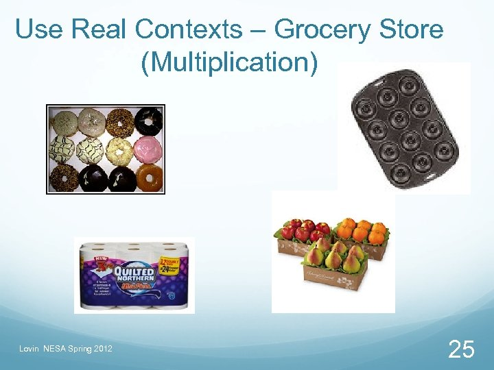 Use Real Contexts – Grocery Store (Multiplication) Lovin NESA Spring 2012 25