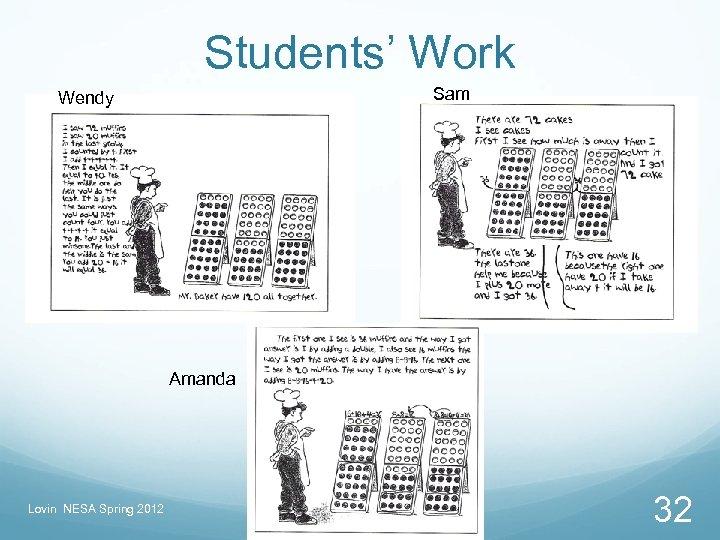 Students' Work Sam Wendy Amanda Lovin NESA Spring 2012 32