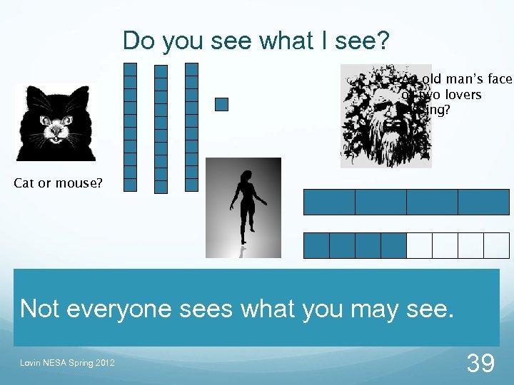 Do you see what I see? An old man's face or two lovers kissing?